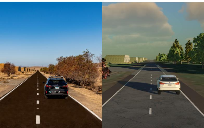 Side-by-side of real world and virtual
